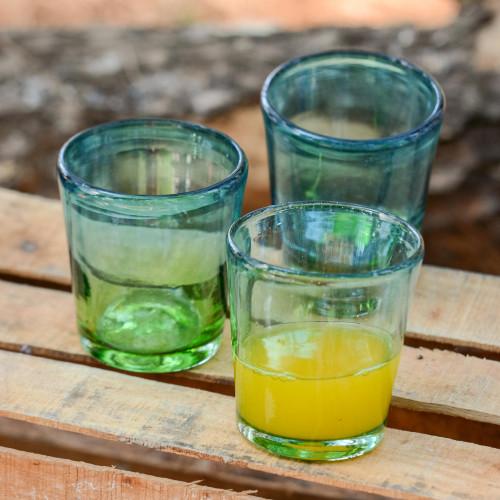 Mexican Green Blue 8 oz Rocks Glasses Hand Blown Set of 6 'Aurora Tapatia'