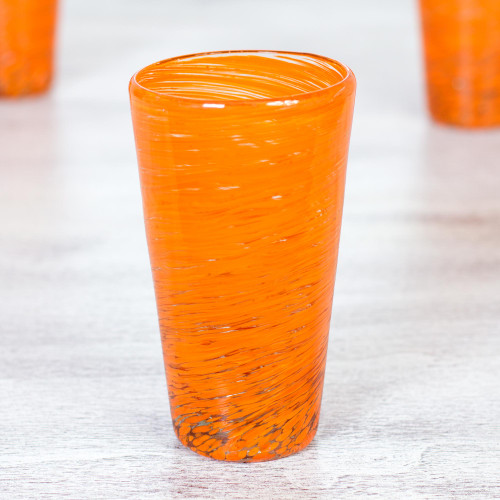 6 Mexican Hand Blown Halloween Orange 13 oz Highball Glasses 'Orange Centrifuge'