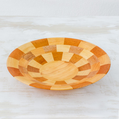 Hand Crafted Natural Wood Serving Bowl from Guatemala 'Domino'