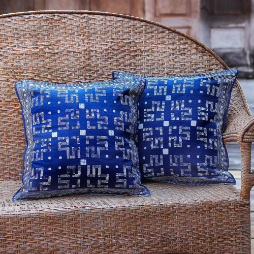 Two Hill Tribe Artisan Crafted Cotton Batik Cushion Covers 'Blue Hmong Labyrinth'