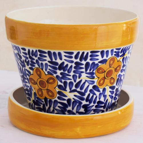 Artisan Crafted Ceramic Flower Pot from Guatemala 'Lirio Acuatico'