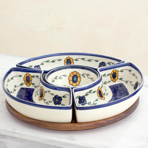 Artisan Crafted Floral Appetizer Platter with Wood Base 'Margarita'