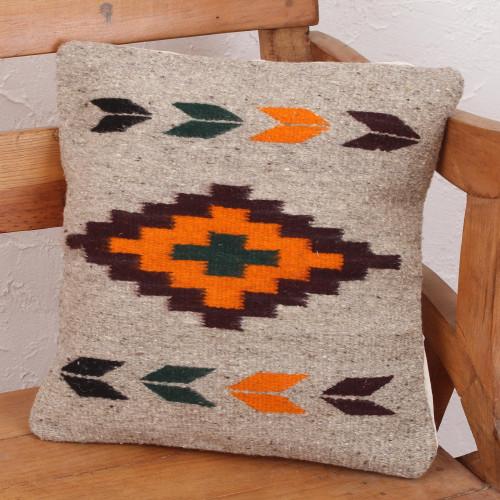 Geometric Motif Handwoven Zapotec Wool Cushion Cover 'Oaxaca Sun'