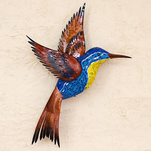 Steel Wall Art Right Facing Blue Hummingbird Mexico 'Blue Hummingbird'