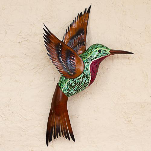 Steel Wall Art Right Facing Green Hummingbird Mexico 'Green Hummingbird'