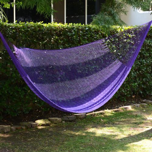 Hand Woven Nylon Purple Hammock Single from Mexico 'Lilac Blossom'
