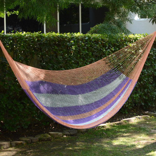 Hand Woven Nylon Striped Hammock Double from Mexico 'Melon Stripe'