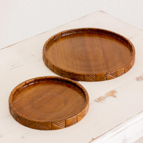 Hand Carved Conacaste Wood Trays Pair from Guatemala 'Natural Circles'