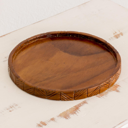 Hand Carved Round Conacaste Wood Tray from Guatemala 'Natural Circle'