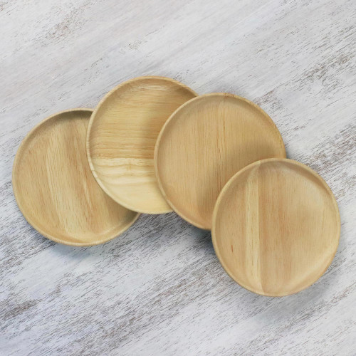 Four Rubberwood Dessert or Party Plates from Thailand 'Sweet Party'