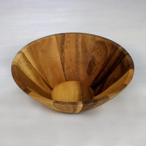1 Quart Serving Bowl in Natural Wood Handmade in Thailand 'Conical Nature'