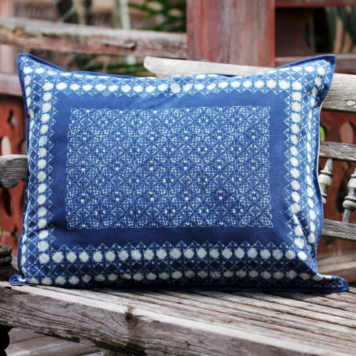 Indigo Floral Batik Mosaic on Handmade Cotton Cushion Cover 'Indigo Floral Mosaic'