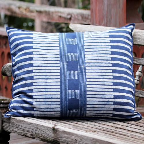 Rectangular Cotton Batik Cushion Cover in Indigo and Cream 'Urban Happiness'