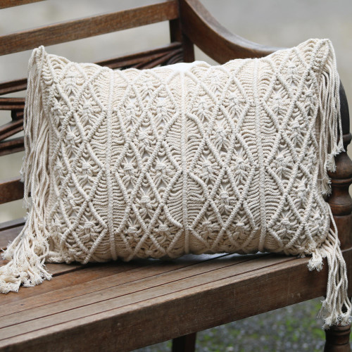 Small Handwoven Cotton Cushion Cover in Ecru from Bali 'Fishermans Weave'