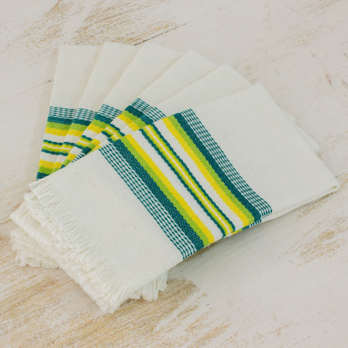 Multicolor 100 Cotton Napkins from Guatemala Set of 6 'Culinary Inspiration'