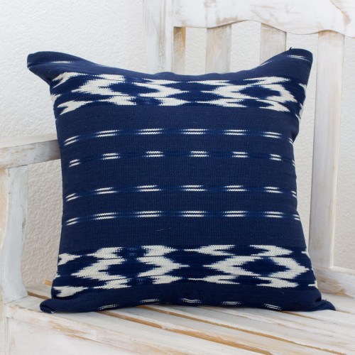 Cotton Cushion Cover in Ivory and Navy from Guatemala 'Ocean Elegance'
