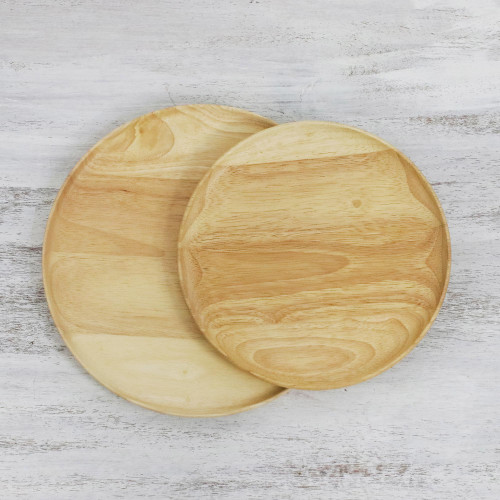 Pair of Handcrafted Natural Wooden Plates from Thailand 'Natural Rounds'