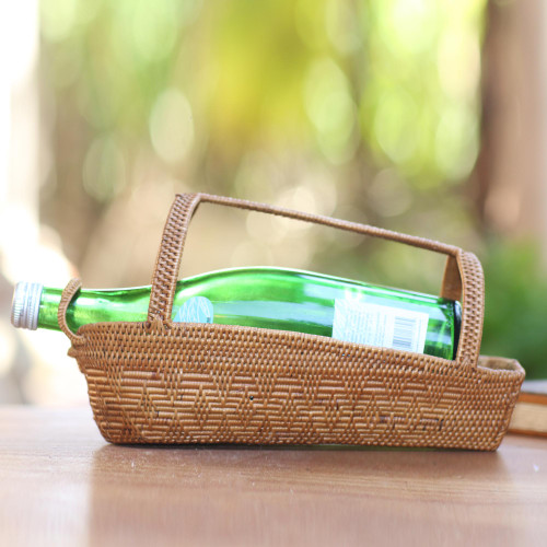 Handcrafted Pandan Leaf Bottle Holder from Bali 'Natural Companion'
