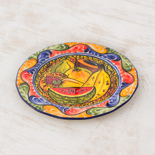 Artisan Crafted Ceramic Plate with Tropical Fruit Motifs 'Gifts of the Tropics'