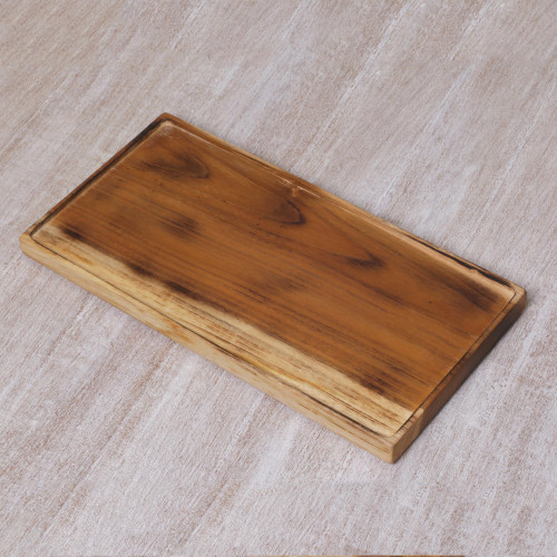 Artisan HandCarved Natural Teakwood Platter from Java 'Forest Server'