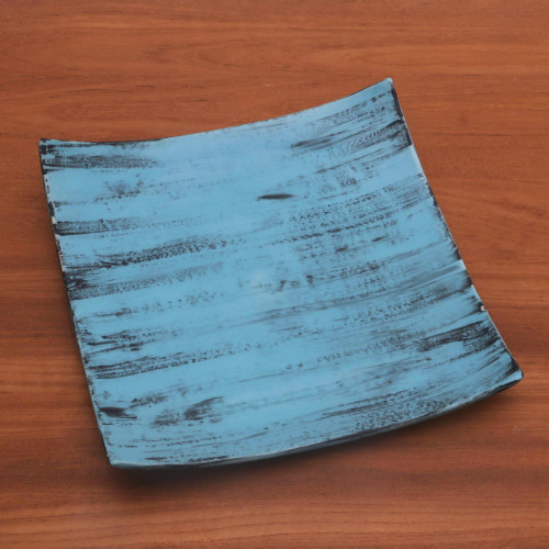 Handcrafted Blue and Black Ceramic Platter from Bali 'Daydreams in Blue'