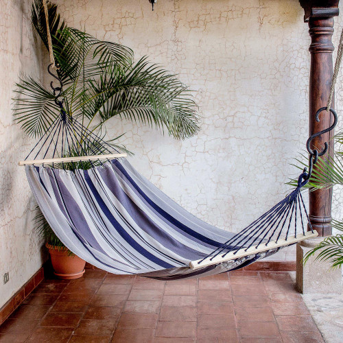 Striped Cotton Hammock from El Salvador Single 'Mountain Breeze'