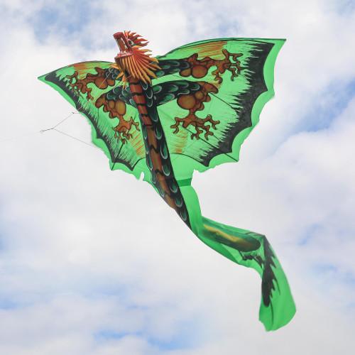 HandPainted Green Dragon Nylon Kite from Bali 'Verdant Dragon'