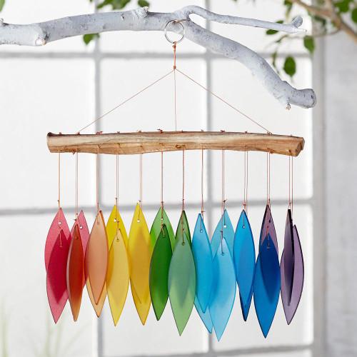 Indonesian Rainbow Glass and Driftwood Windchime 'Rainbow Dreams'