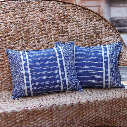Handmade Batik Cushion Covers in Blue Cotton Pair 'Thai Parallels'