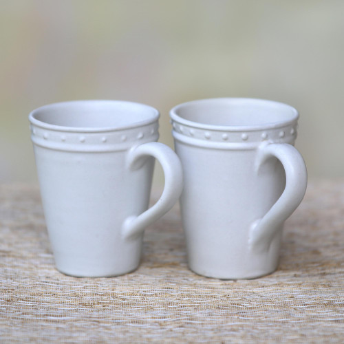 Dot Motif Small White Ceramic Mugs Pair 'Country Dot'