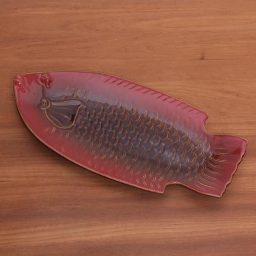 Red FishShaped Ceramic Platter Handmade in Bali 'Red Gourami'