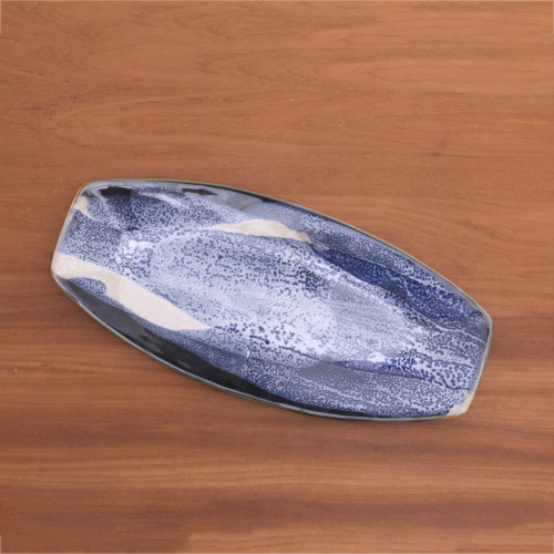 Artisan Made Ceramic Platter in Blue and Ivory from Bali 'Great Pleasure'