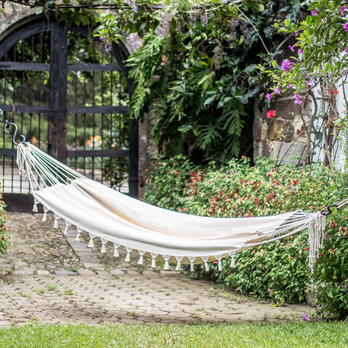 Handwoven Cotton Single Hammock in Linen from Guatemala 'Above the Sand'