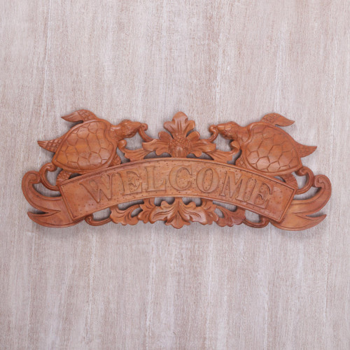 Hand Carved Turtle Wood Welcome Sign from Bali 'Turtle Welcome'