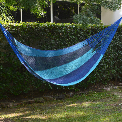 Hand Crafted Blue Striped Nylon Rope Single Hammock 'Afternoon Breeze'