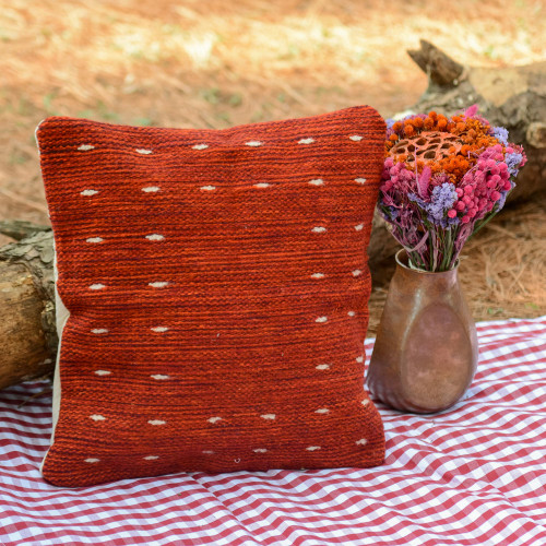 Handwoven Wool Cushion Cover in Red from Mexico 'Dotted Passion in Red'