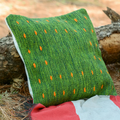 Handwoven Wool Cushion Cover in Green from Mexico 'Dotted Passion in Green'