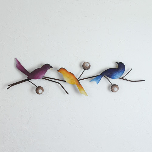 Steel Wall Sculpture of Three Colorful Birds from Mexico 'Singing Trio'