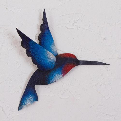Artisan Handcrafted Blue Hummingbird Steel Wall Sculpture 'Delightful Blue Hummingbird'