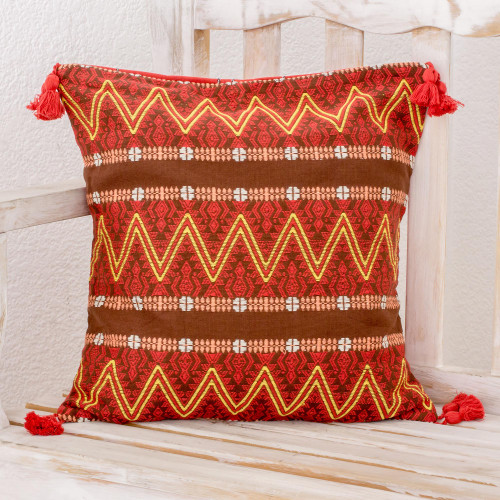 Zigzag Motif Cotton Cushion Cover in Chestnut from Guatemala 'Zigzag Paths in Chestnut'