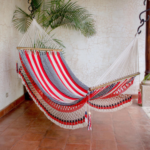 Handwoven Striped Cotton Hammock Single from Nicaragua 'Celebration and Relaxation'
