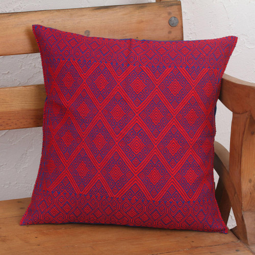 Blue and Red Diamond Patterned Cotton Cushion Cover 'Detailed Diamonds'
