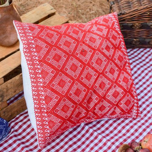 Cotton Cushion Cover in Crimson and Cream from Mexico 'Crimson Maze'