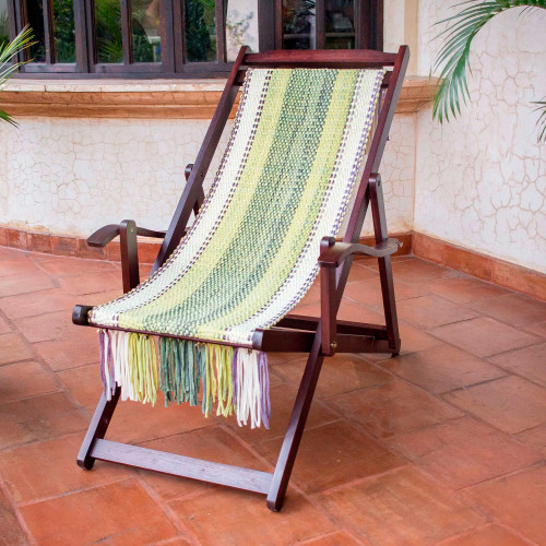 Adjustable Wood Frame Recycled Cotton Blend Hammock Chair 'Paradise Fields'