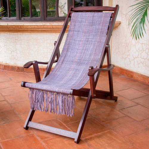 Adjustable Frame Purple Recycled Cotton Blend Hammock Chair 'Oceanside'
