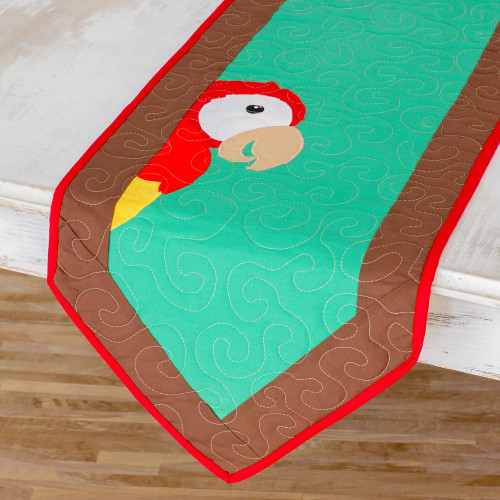 Cotton Blend Macaw Table Runner from Costa Rica 'Red Macaw'