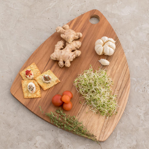 Handcrafted Teakwood Rounded Edge Cutting Board 'Form and Function'