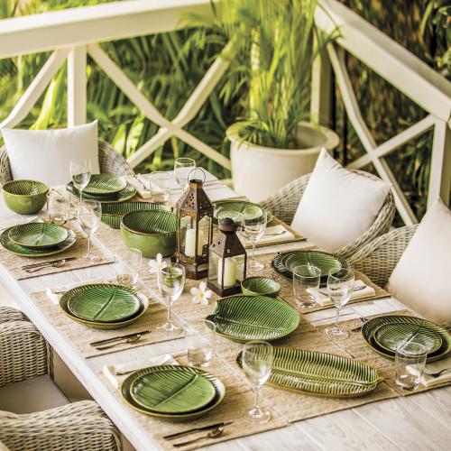 Ceramic Banana Leaf Dinner Plates Set of 4 from Bali 'Banana Vibes'