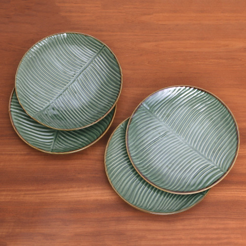 Ceramic Banana Leaf Dessert Plates Set of 4 from Bali 'Banana Vibes'