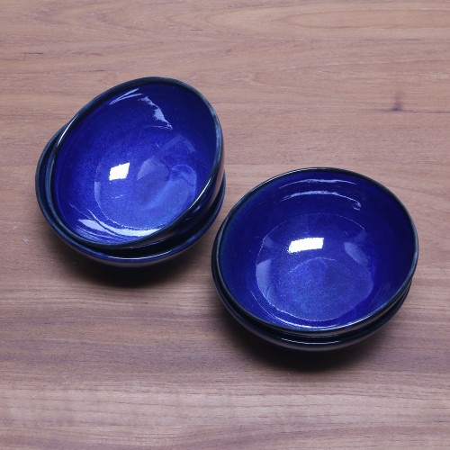 Blue Ceramic Dessert Bowls Set of 4 from Bali 'Blue Delicious'